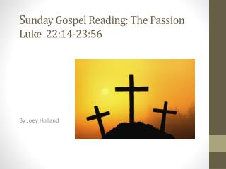 S unday Gospel Reading: The Passion Luke  22:14-23:56