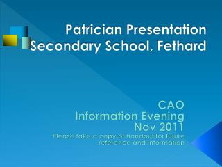 Patrician Presentation Secondary School,  Fethard