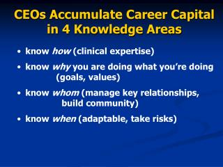 CEOs Accumulate Career Capital in 4 Knowledge Areas