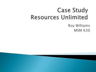 Case Study Resources Unlimited