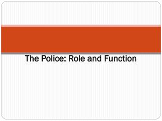 The Police: Role and Function