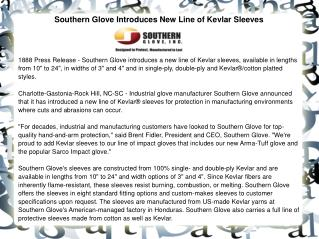 Southern Glove Introduces New Line of Kevlar Sleeves