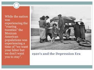 1920's and the Depression Era