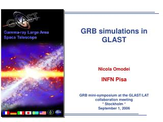 GRB simulations in GLAST