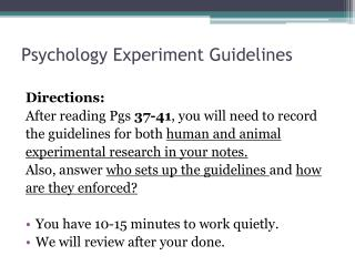 Psychology Experiment Guidelines