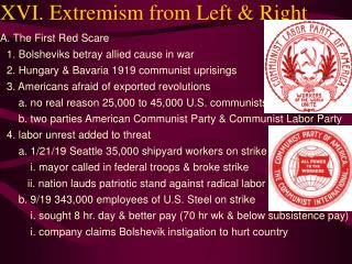 XVI. Extremism from Left & Right