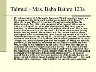 Talmud - Mas. Baba Bathra 123a