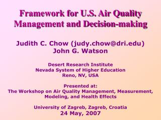 Framework for U.S. Air Quality Management and Decision-making