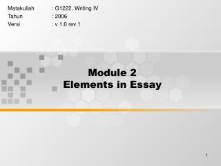 Module 2 Elements in Essay