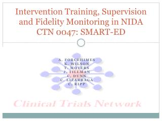 Intervention Training, Supervision and Fidelity Monitoring in NIDA CTN 0047: SMART-ED