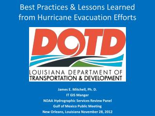Best Practices & Lessons Learned from Hurricane Evacuation Efforts