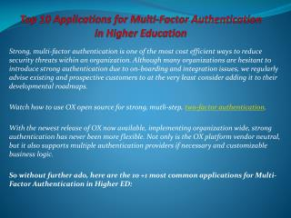 Top 10 Applications for Multi-Factor Authentication in Highe