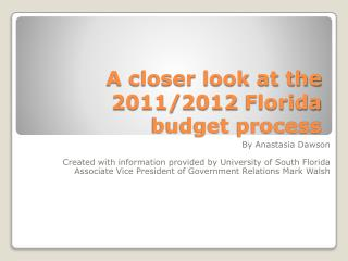 A closer look at the 2011/2012 Florida budget process