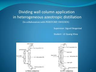 Dividing wall column application  in  heterogeneous azeotropic distillation