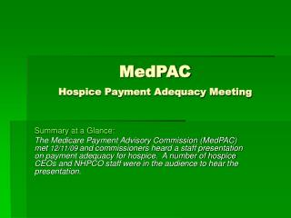 MedPAC Hospice Payment Adequacy Meeting