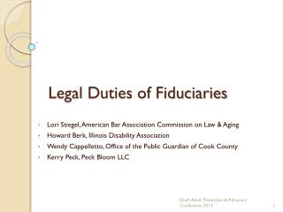 Legal Duties of Fiduciaries