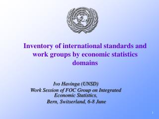 Inventory of international standards and work groups by economic statistics domains