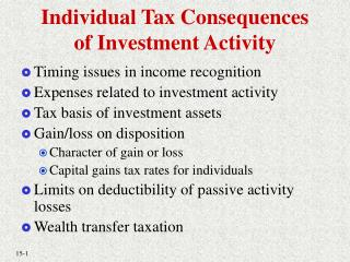 Individual Tax Consequences of Investment Activity