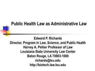 Public Health Law as Administrative Law