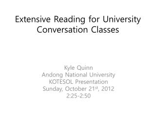 Extensive Reading for University Conversation Classes