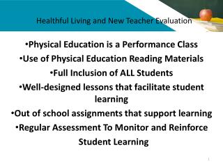 Healthful Living and New Teacher Evaluation
