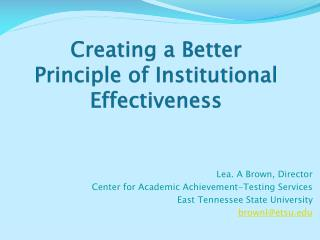 Creating a Better Principle of Institutional Effectiveness