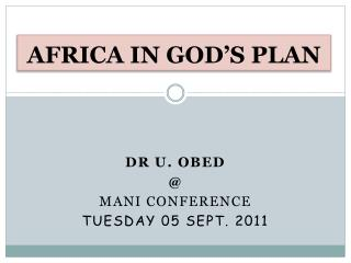 AFRICA IN GOD'S PLAN