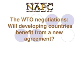 The WTO negotiations:  Will developing countries benefit from a new agreement?