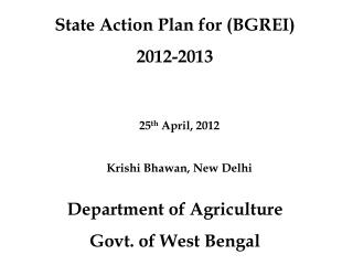State Action Plan for (BGREI)  2012-2013