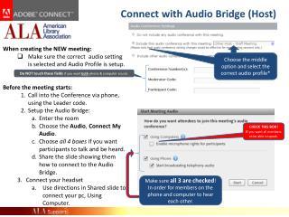 Connect with Audio Bridge (Host)