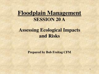 Floodplain Management SESSION 20 A