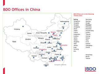 BDO Offices in China