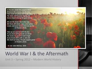 World War I & the Aftermath