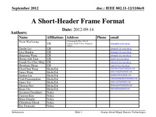 A Short-Header Frame Format