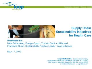 Supply Chain Sustainability Initiatives for Health Care