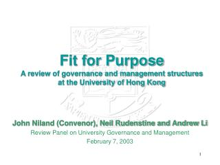Fit for Purpose A review of governance and management structures at the University of Hong Kong