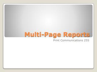 Multi-Page Reports