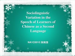 Sociolinguistic Variation in the Speech of Learners of Chinese as a Second Language