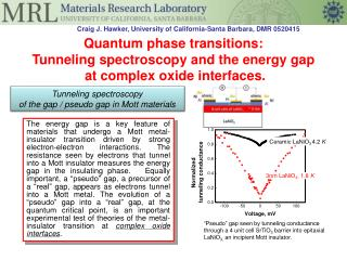 Quantum phase transitions:   Tunneling spectroscopy and the energy gap