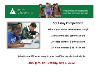 SCI Essay Competition What's your Junior Achievement story?
