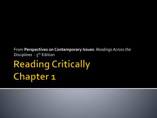 Reading Critically Chapter 1