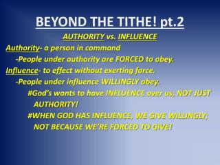 BEYOND THE TITHE! pt.2