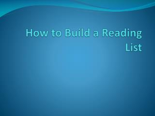 How to Build a Reading List