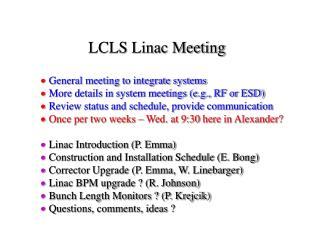 LCLS Linac Meeting