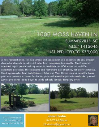 1000 Moss Haven Ln Summerville, SC MLS# 1415046 Just Reduced to $59,000