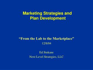 Marketing Strategies and  Plan Development