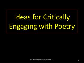 Ideas for Critically Engaging with Poetry