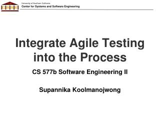 Integrate Agile Testing into the Process