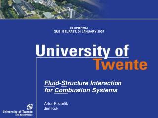 Flui d- St ructure Interaction  for  Com bustion Systems Artur Pozarlik Jim Kok