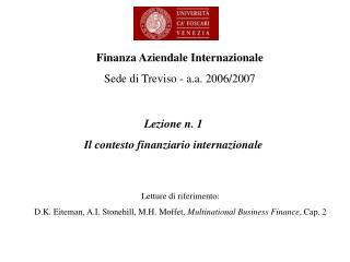 Lezione n. 1 Il contesto finanziario internazionale